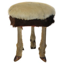 Antique French Deer Hoof and Cowhide Foot Stool