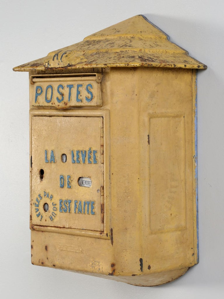 Antique French Delachana Paris mailbox and in order to encourage small towns to install additional mail boxes, Delachanal created for the post office a large steel box utilizing the same door as the cast iron boxes. The new mail box had a pressed