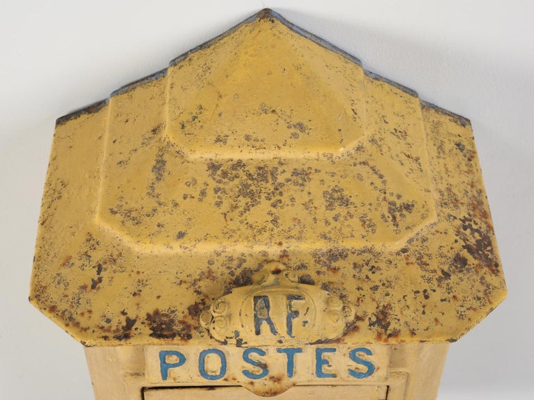 Country Antique French Delachanal Paris Mailbox in Original Paint, circa 1918 For Sale