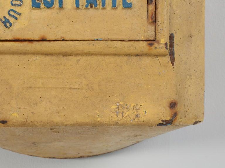 Iron Antique French Delachanal Paris Mailbox in Original Paint, circa 1918 For Sale