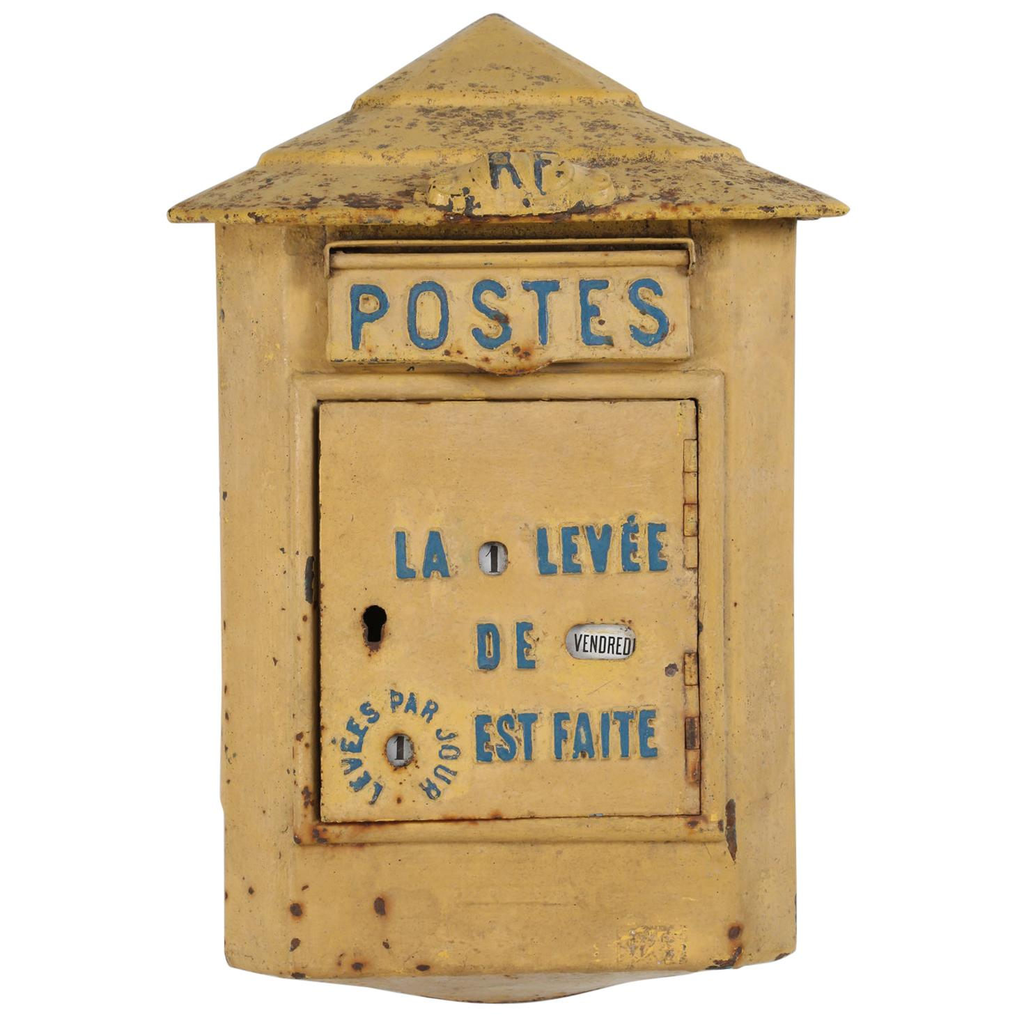 Antique French Delachanal Paris Mailbox in Original Paint, circa 1918