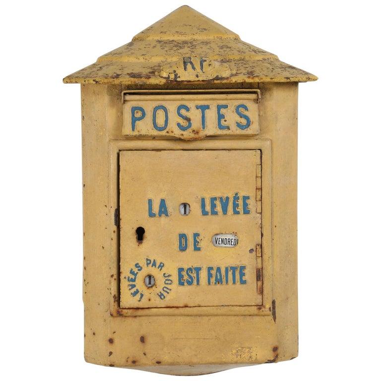 Antique French Delachanal Paris Mailbox in Original Paint, circa 1918 For Sale