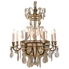 Antique French Delicately Beaded Crystal and Ormolu Chandelier, circa 1890-1910