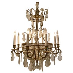 Antique French Delicately Beaded Crystal and Ormolu Chandelier
