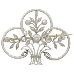 Antique French Diamond and Platinum Brooch