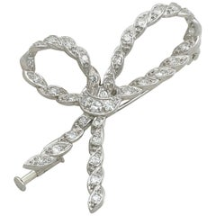 Antique French Diamond and White Gold Bow Brooch