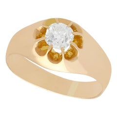 Antique French Diamond and Yellow Gold Gent's Ring, Circa 1920