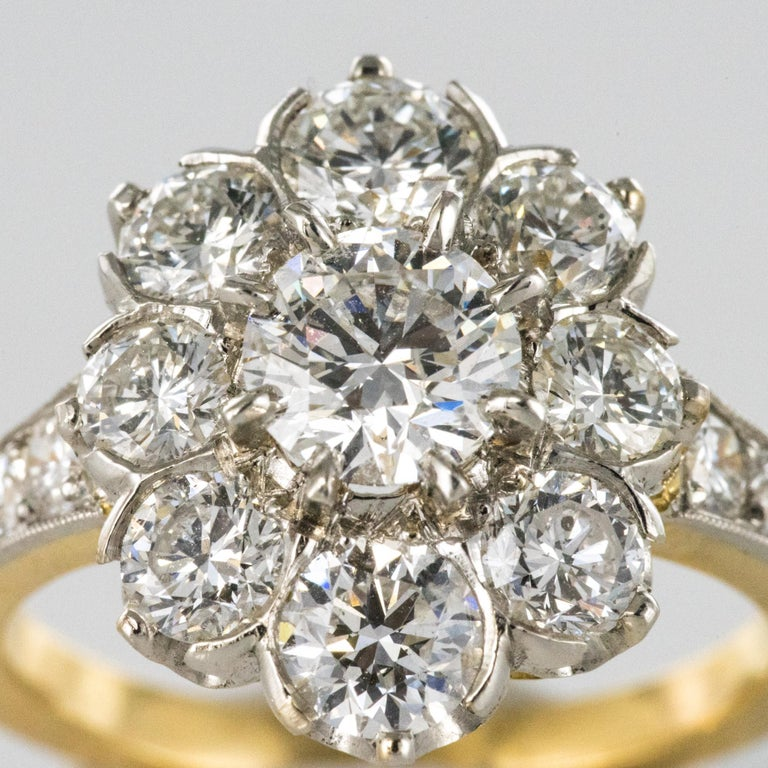 Antique French Diamond Daisy Cluster Engagement Ring For