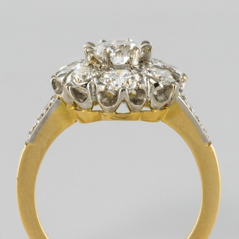Antique Engagement Rings For Sale: Antique French Diamond Daisy Cluster Engagement Ring For