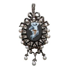 Antique French Diamond Pearl and Cameo Pendant