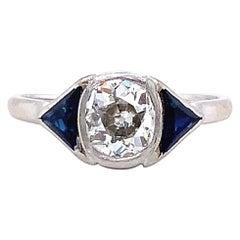 Antique French Diamond Sapphire Three Stone Platinum Engagement Ring