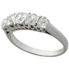 Antique French Diamond White Gold Platinum Set of Five-Stone Ring