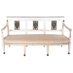 Antique French Directoire Bench, Newly Upholstered in White Belgian Linen