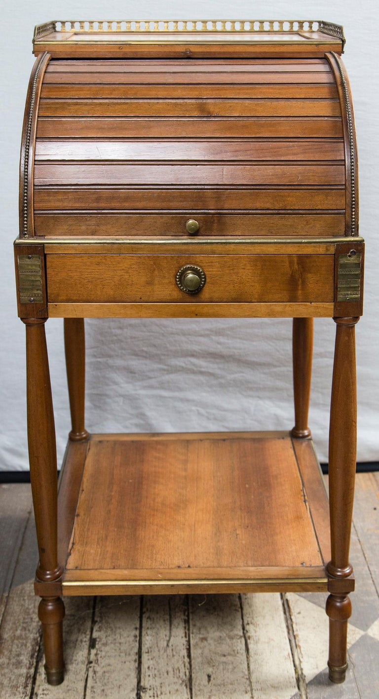 Fruitwood Antique French Directoire Miniature  Roll Top Desk For Sale