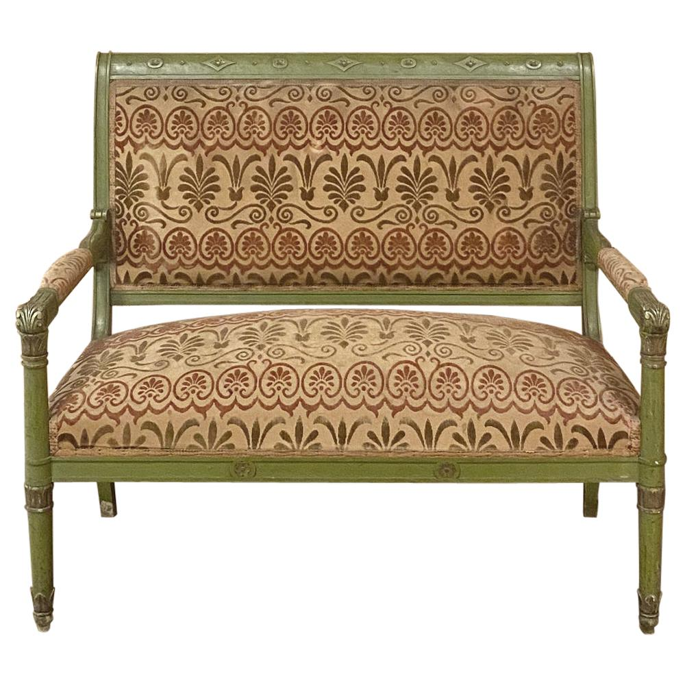 Antique French Directoire Style Painted Canape, Loveseat, Sofa