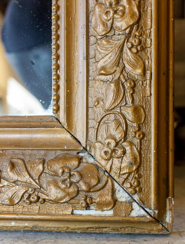 Antique French Distressed Gold Louis Philippe Mirror with Floral Details For Sale 1