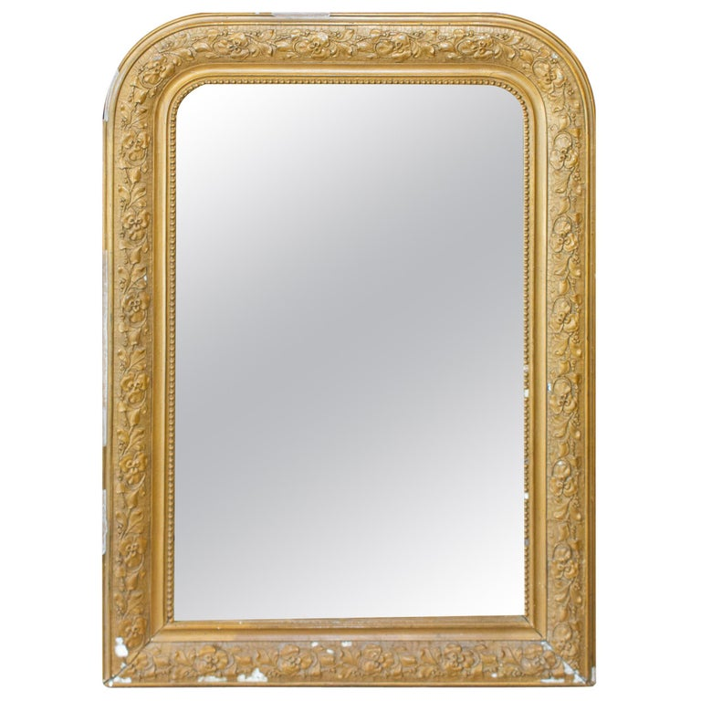 Antique French Distressed Gold Louis Philippe Mirror with Floral Details For Sale