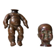 Antique French Doll Mold in Copper, 1910s