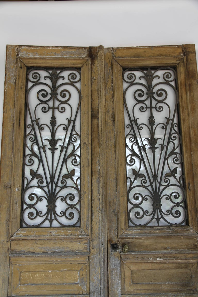 Antique French Doors With Iron And Glass Panels At 1stdibs