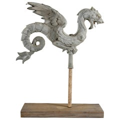 Antique French Dragon Form Zinc Weathervane Element