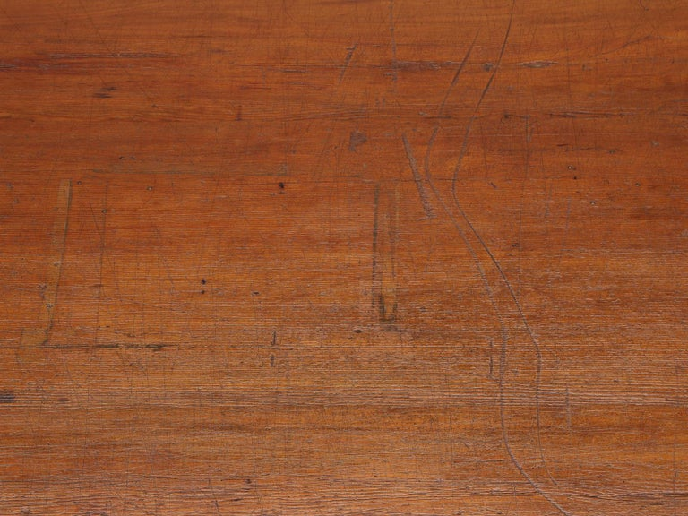 Wood Antique French Drapers Table or Très Grand Kitchen Island, circa 1900-1920 For Sale
