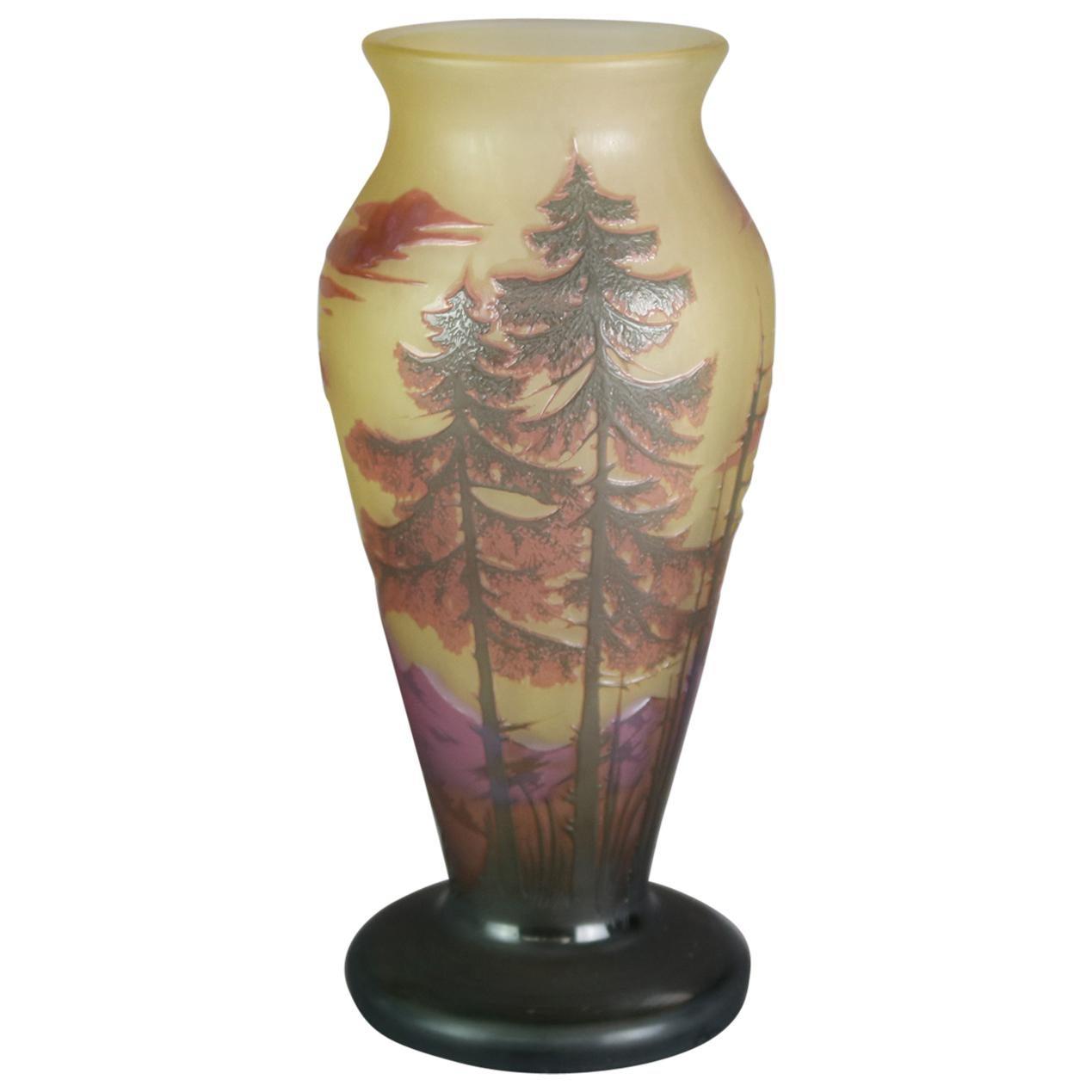 Antique French Dumochelle Cameo Cutback Landscape Art Glass Vase, circa 1900