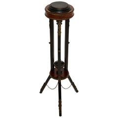Antique French Ebonised Walnut Plant Stand / Torchere