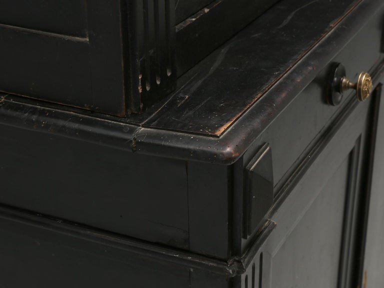 Antique French Ebonized Bookcase that is 100% Original, Including the Finish For Sale 5
