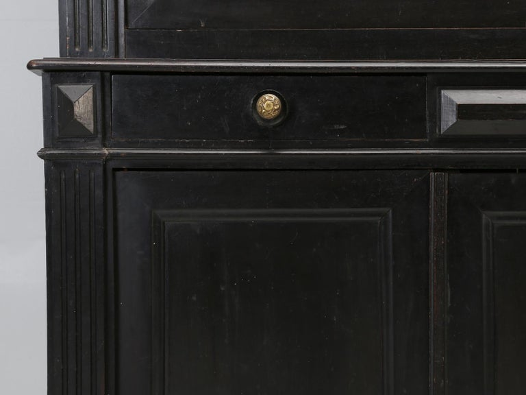 Antique French Ebonized Bookcase that is 100% Original, Including the Finish For Sale 8