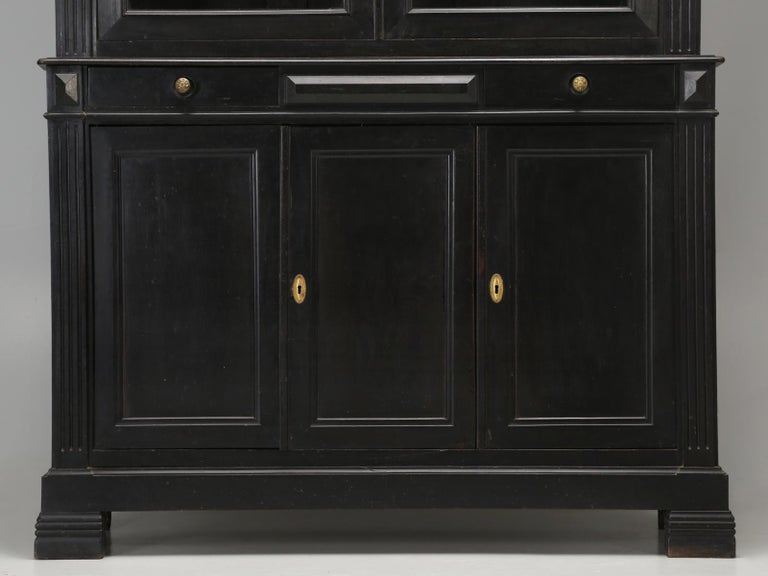 Antique French Ebonized Bookcase that is 100% Original, Including the Finish For Sale 9