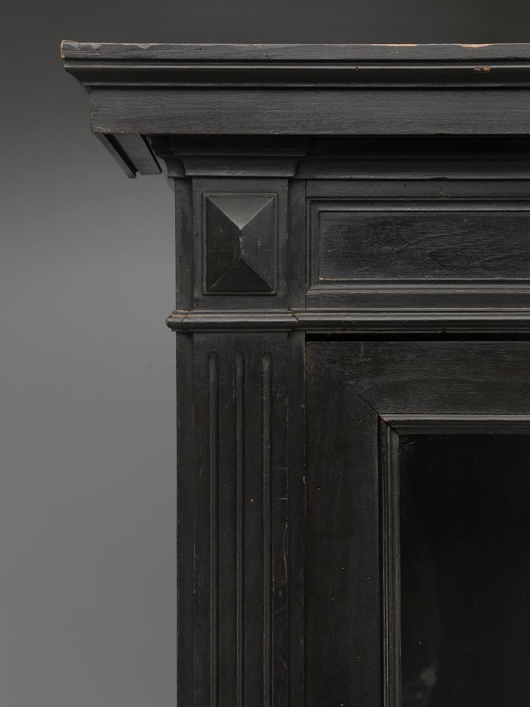 Antique French Ebonized Bookcase that is 100% Original, Including the Finish In Good Condition For Sale In Chicago, IL