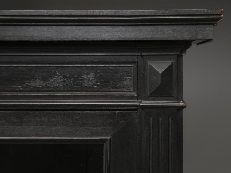 Mahogany Antique French Ebonized Bookcase that is 100% Original, Including the Finish For Sale