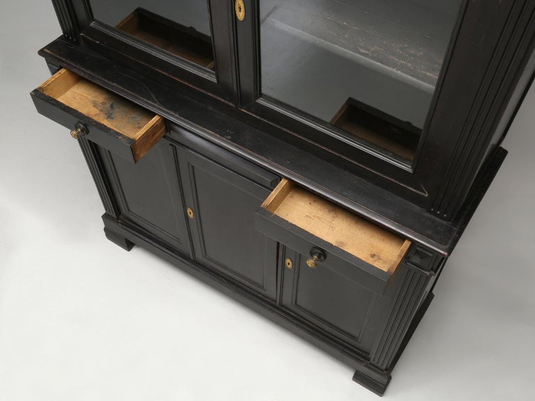 Antique French Ebonized Bookcase that is 100% Original, Including the Finish For Sale 3