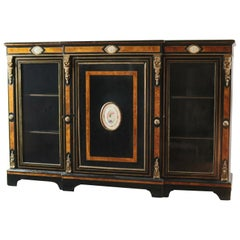 French Ebonized Bronze Mounted Sideboard with Porcelain Plaques, circa 1880