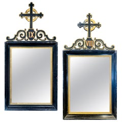 Antique French Ebonized and Giltwood Stations of the Cross Mirror Pairing