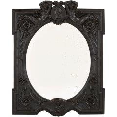 Antique French Ebony Dressing Table Mirror