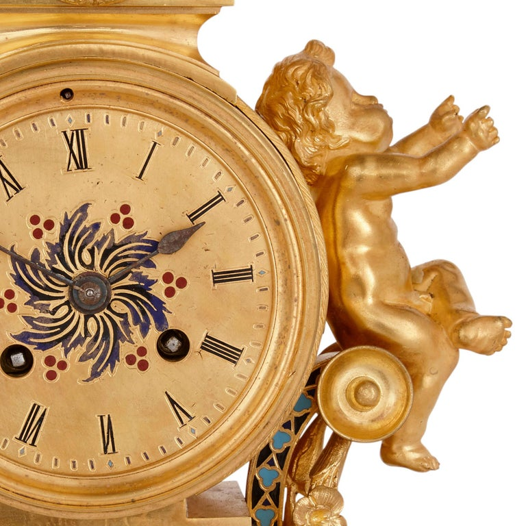 Champlevé Antique French Eclectic Style Enamel and Gilt Bronze Clock Set For Sale