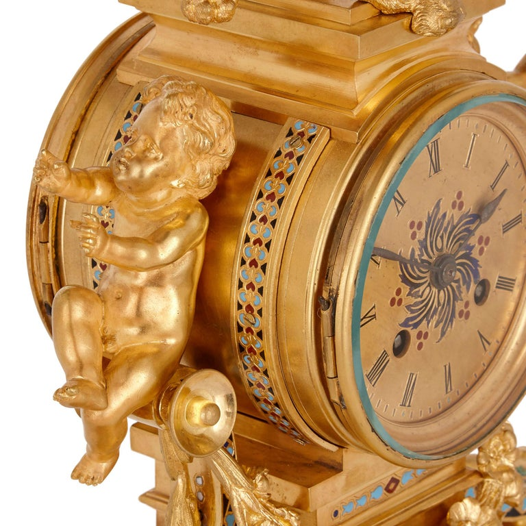 Antique French Eclectic Style Enamel and Gilt Bronze Clock Set In Good Condition For Sale In London, GB