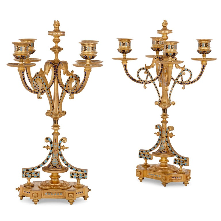 19th Century Antique French Eclectic Style Enamel and Gilt Bronze Clock Set For Sale