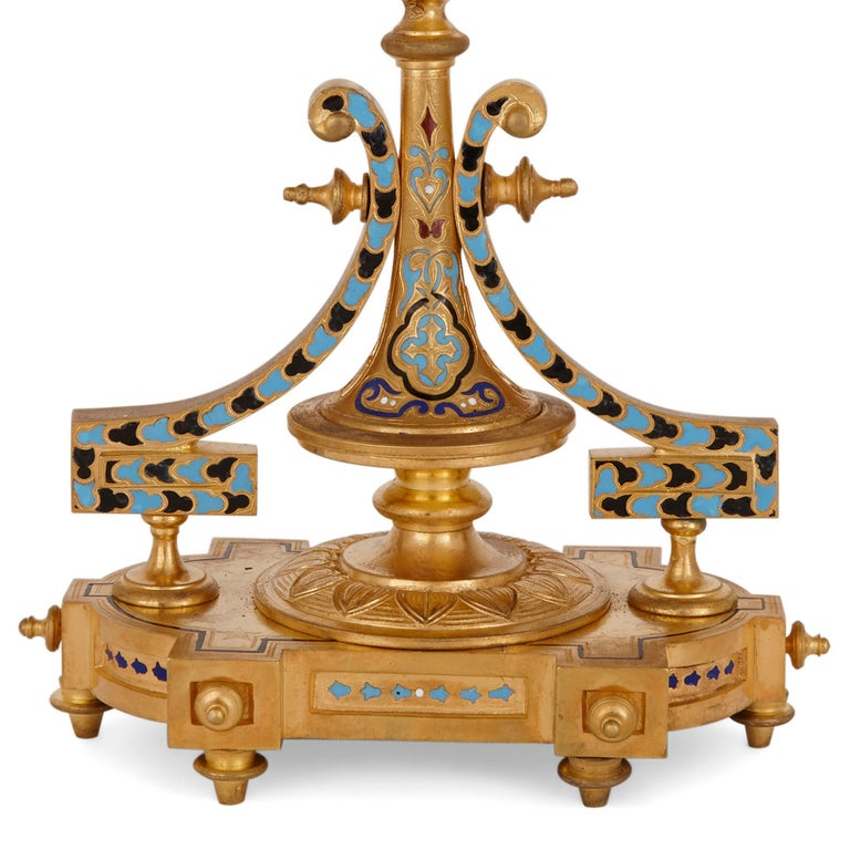 Ormolu Antique French Eclectic Style Enamel and Gilt Bronze Clock Set For Sale