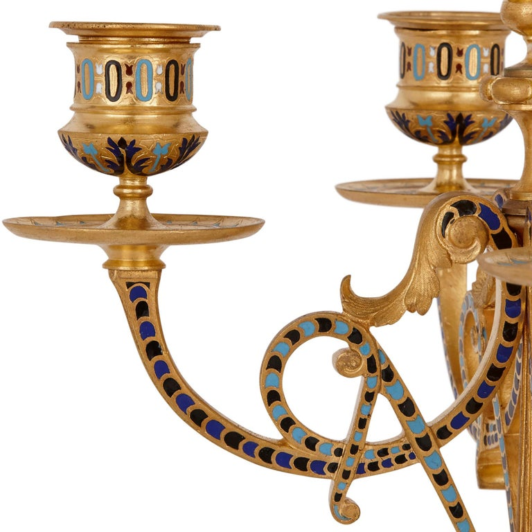 Antique French Eclectic Style Enamel and Gilt Bronze Clock Set For Sale 1