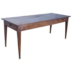 Antique French Elm Farm Table
