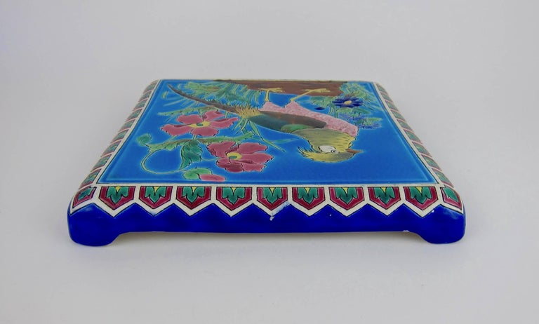 Antique French Emaux de Longwy Stand or Trivet with Cloisonné Style Bird Decor For Sale 3