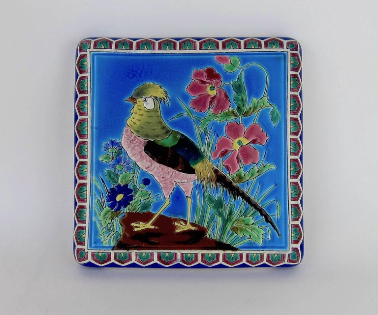 Chinoiserie Antique French Emaux de Longwy Stand or Trivet with Cloisonné Style Bird Decor For Sale