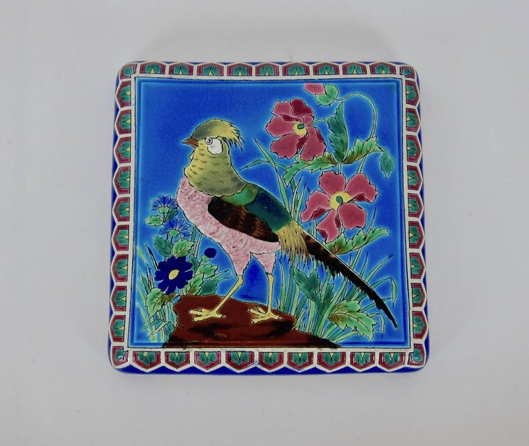 Hand-Painted Antique French Emaux de Longwy Stand or Trivet with Cloisonné Style Bird Decor For Sale