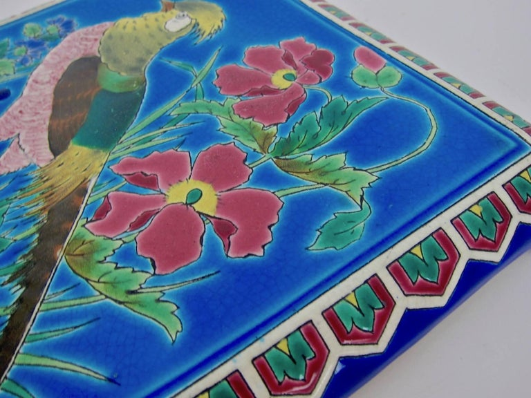Antique French Emaux de Longwy Stand or Trivet with Cloisonné Style Bird Decor In Good Condition For Sale In Los Angeles, CA