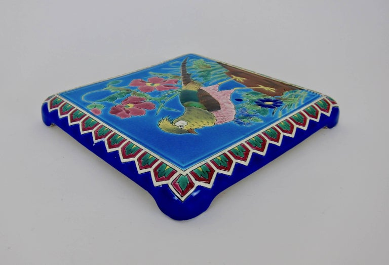 Antique French Emaux de Longwy Stand or Trivet with Cloisonné Style Bird Decor For Sale 1