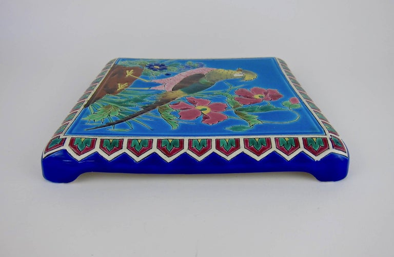 Antique French Emaux de Longwy Stand or Trivet with Cloisonné Style Bird Decor For Sale 2