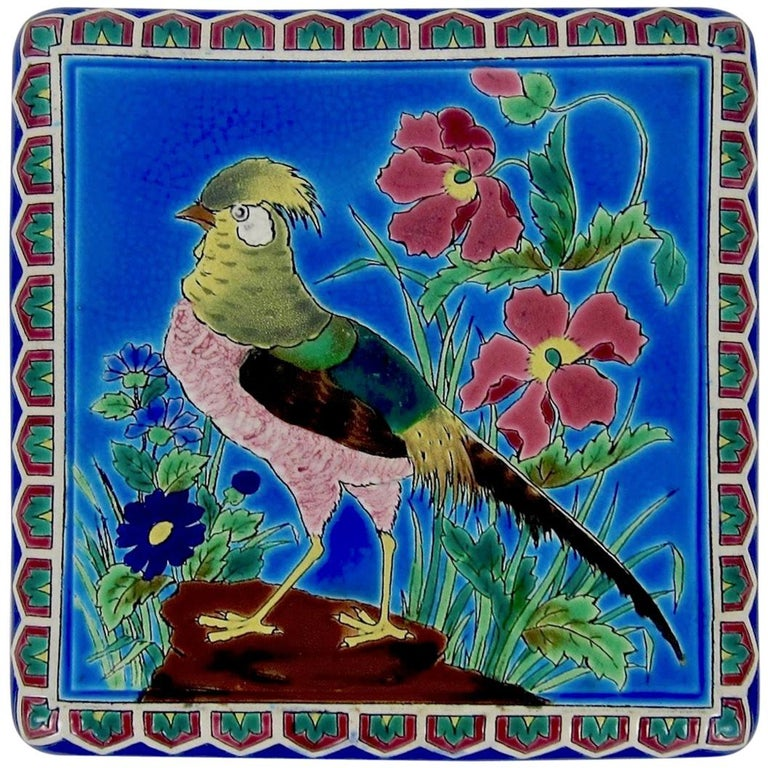 Antique French Emaux de Longwy Stand or Trivet with Cloisonné Style Bird Decor For Sale
