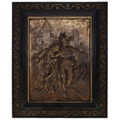 Antique French Embossed Bronze Courting Plaque in Gilt and Ebonized Frame